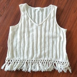 Anthropologie Eri and Ali Fringed tassel top Small